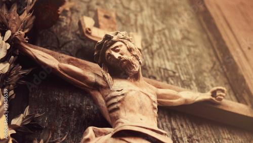 Jesus Christ crucified (an ancient wooden sculpture) Slika na platnu