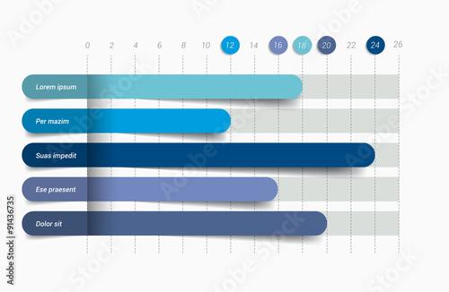 Fotografía  Flat chart, graph. Simply color editable. Infographics elements.