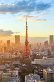 Tokyo city skyline at sunset in Tokyo