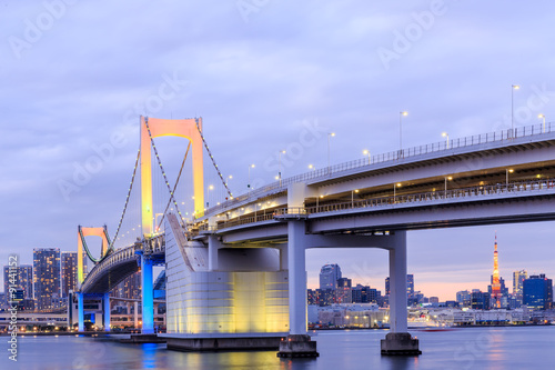 Twilight Tokyo Rainbow bridge in Japan - 91441152