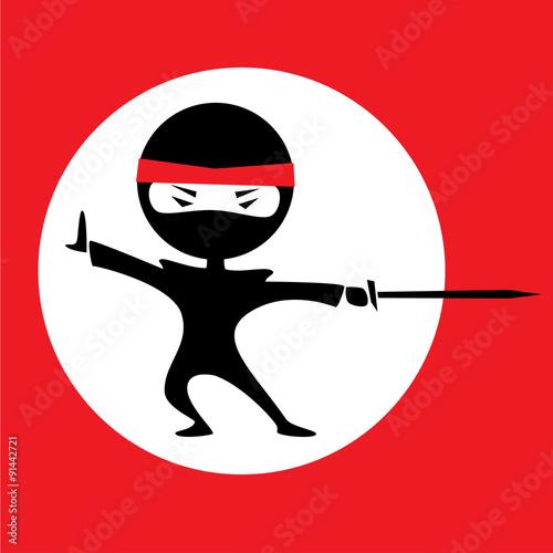 Photo  Vector illustration of a cartoon ninja holding a sword