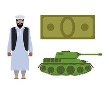 Set Of Icons For Military Conflict In Syria. Refugee, Money And