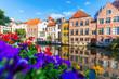 canvas print picture - Häuser an einem Kanal in der Altstadt von Gent, Belgien