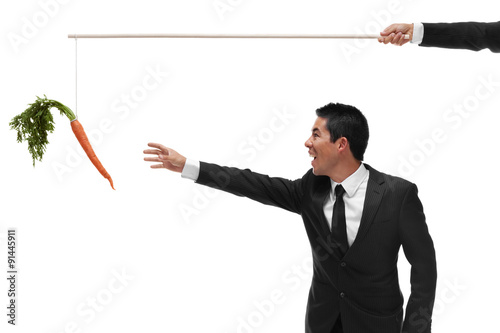 Fototapeta Excited businessman reaching for a carrot on the end of a stick obraz