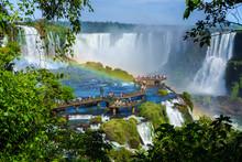 Tourists At Iguazu Falls, On T...
