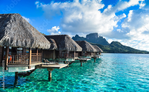 Vista Bungalow Bora Bora Canvas Print