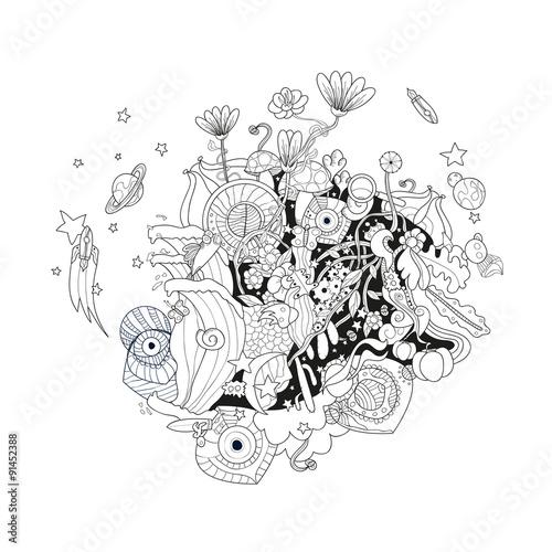Foto op Aluminium Vogels in kooien Wild cartoon world print design