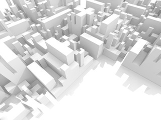 Abstract schematic white 3d cityscape, render