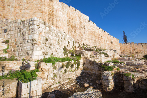 Canvas Print Jerusalem - The south part of town walls and the excavations.