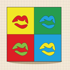 Fototapeta pop art lipstick theme elements