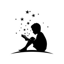 Kid Read Book With Star Silhou...