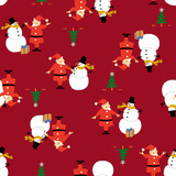 サンタクロースと雪だるまパターン