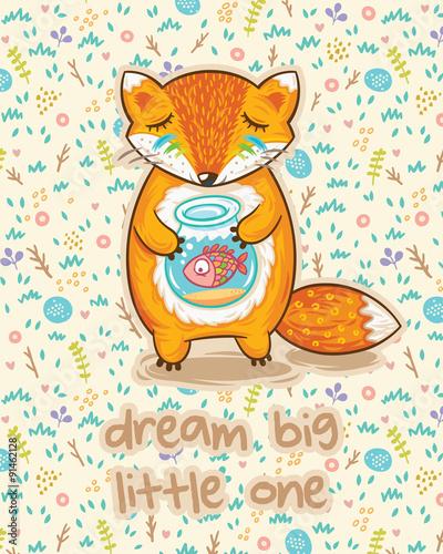 In de dag Sprookjeswereld Dream big little one. Cute card with fox and fish