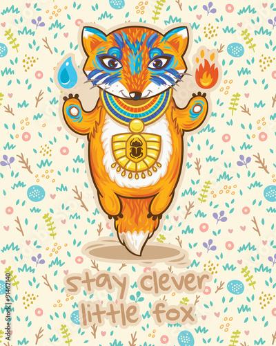 In de dag Sprookjeswereld Stay clever. Cute card with little fox.