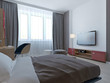 Bedroom with grey walls and niche
