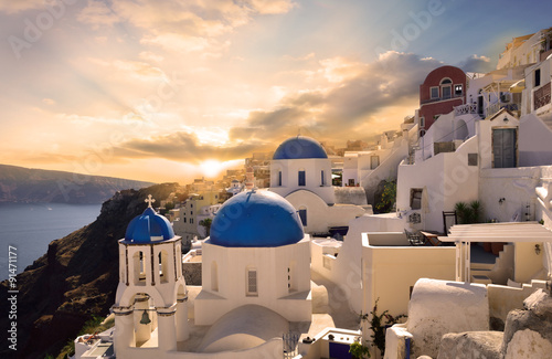 Papiers peints Santorini Town at sunset, Santorini, Greece