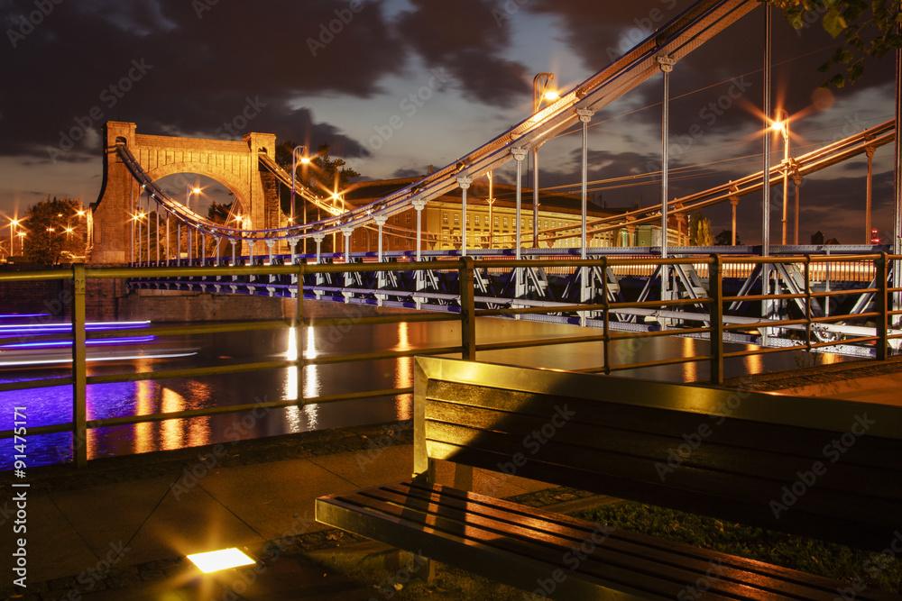 Fototapety, obrazy: Most Grunwaldzki wieczorową porą