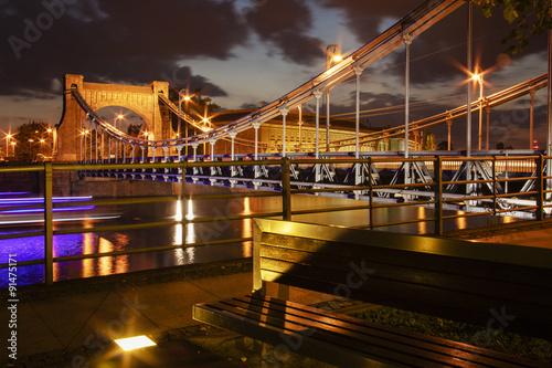 Obraz Most Grunwaldzki wieczorową porą - fototapety do salonu