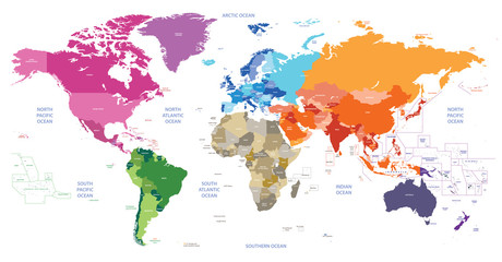 Fototapeta world political map colored by continents