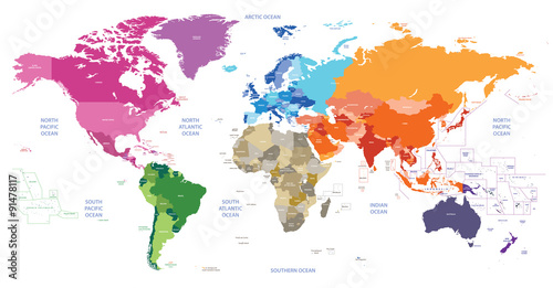 Poster Carte du monde world political map colored by continents