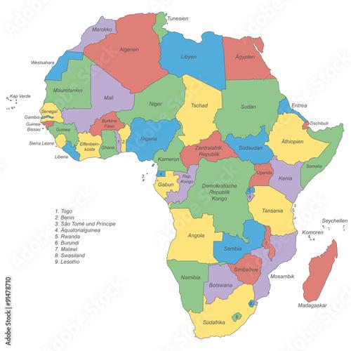 Afrika Politische Karte Beschriftet Buy This Stock Vector