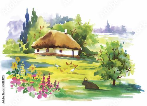Fotobehang Zwavel geel Watercolor rural village in green summer day illustration