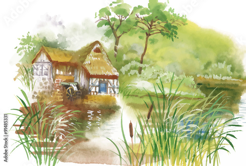 Watercolor rural village in green summer day illustration - 91485331