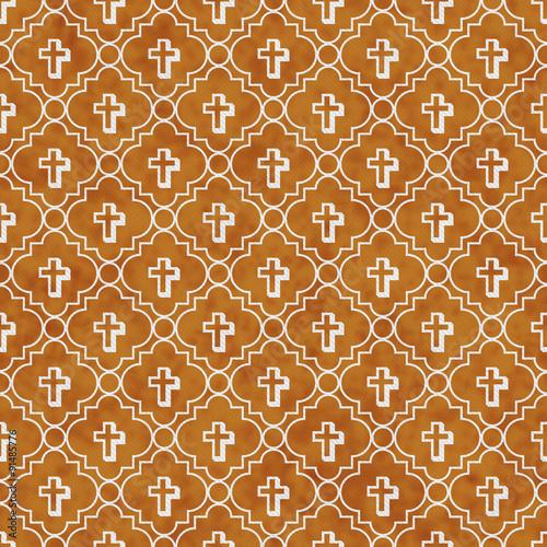 Fotografie, Obraz  Orange and White Cross Symbol Tile Pattern Repeat Background