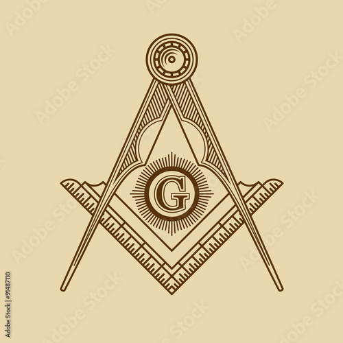 Photo  Masonic Freemasonry Emblem Icon Logo. Vector