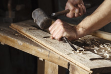 Carpenter Hands Working With A...