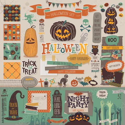 Spoed Fotobehang Halloween Halloween scrapbook set - decorative elements.