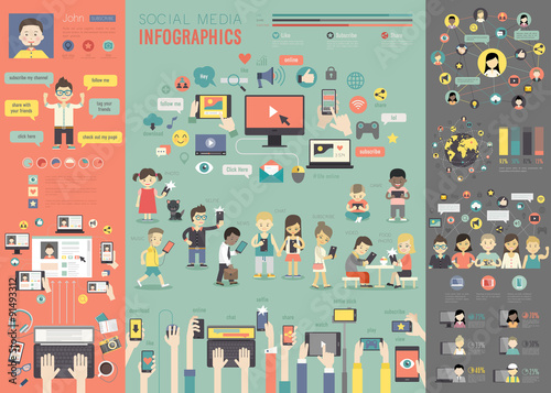 Fotografie, Tablou  Social Media Infographic set with charts and other elements.
