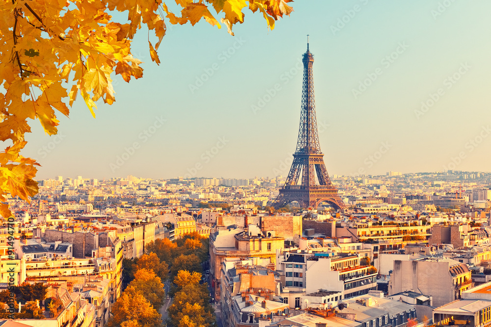 Fototapety, obrazy: View on Eiffel tower at sunset