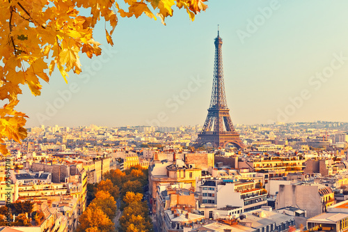 View on Eiffel tower at sunset Poster