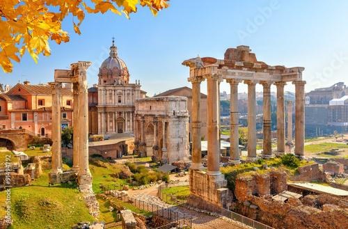 Fotobehang Athene Roman ruins in Rome, Forum