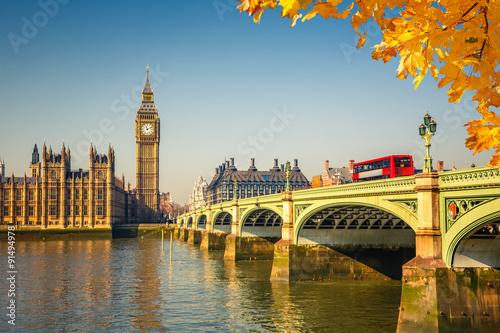 Aluminium Prints Autumn Big Ben in London