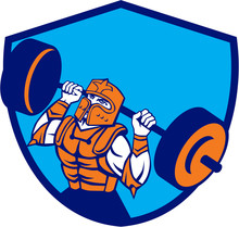 Knight Lifting Barbell Crest Retro