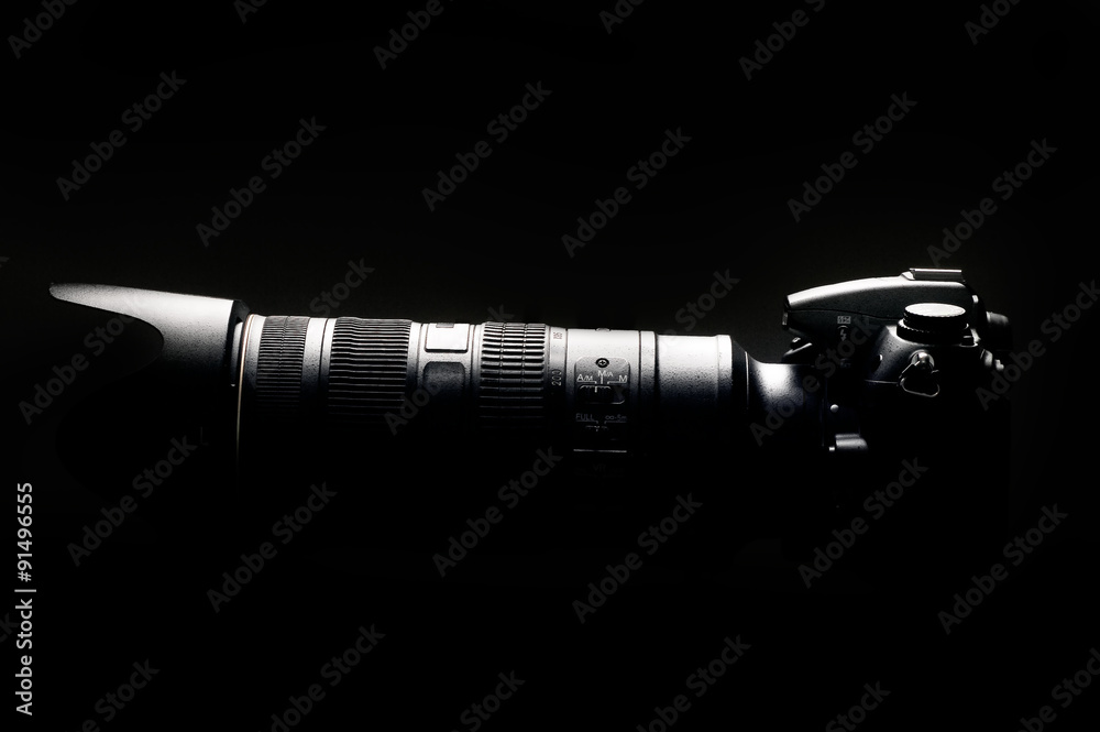 Fototapety, obrazy: Professional digital photo camera with tele lenses