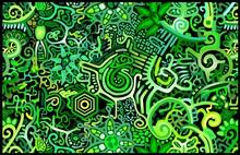 Wallpaper Green Rain Forest Abstract