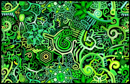Wallpaper Green Rain Forest Abstract Poster