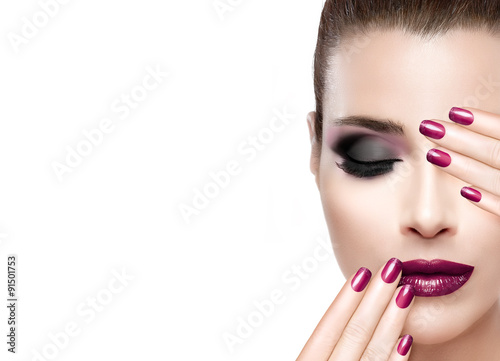 Fotografie, Obraz  Beauty and Makeup concept. Luxury Nails and Make-up