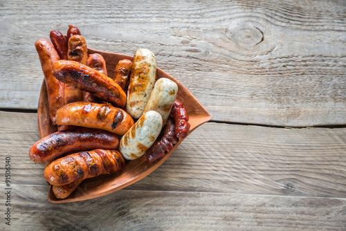 Vászonkép Grilled sausages