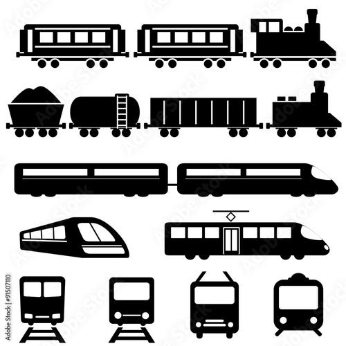 Train and railway transportation icons Fototapeta
