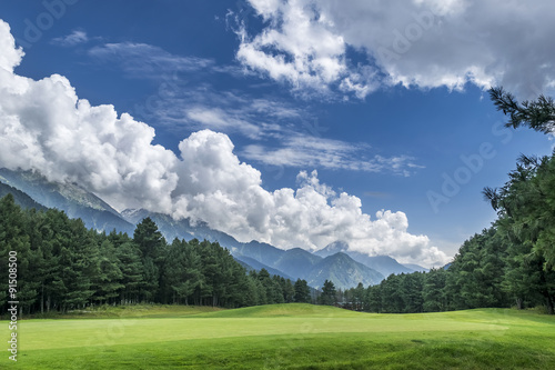 Poster Campagne Pahalgam Golf Course with mountains in background, Jammu & Kashmir