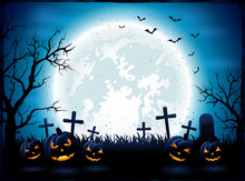 Halloween Night With Blue Moon And Pumpkins