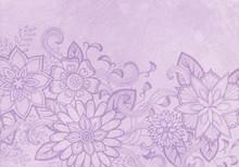 Hand Drawn Flower Design, Elegant Fancy Floral Doodle Pattern With Fancy Curls And Line Design Elements On Pastel Purple Background Paper Or Parchment, Flower Art Border Craft Idea