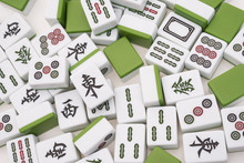 Lots Of Mah Jong Bricks On White Background,the Chinese On The B