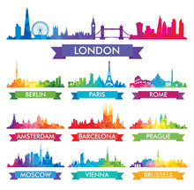 City Skyline Of Europe Colorfu...