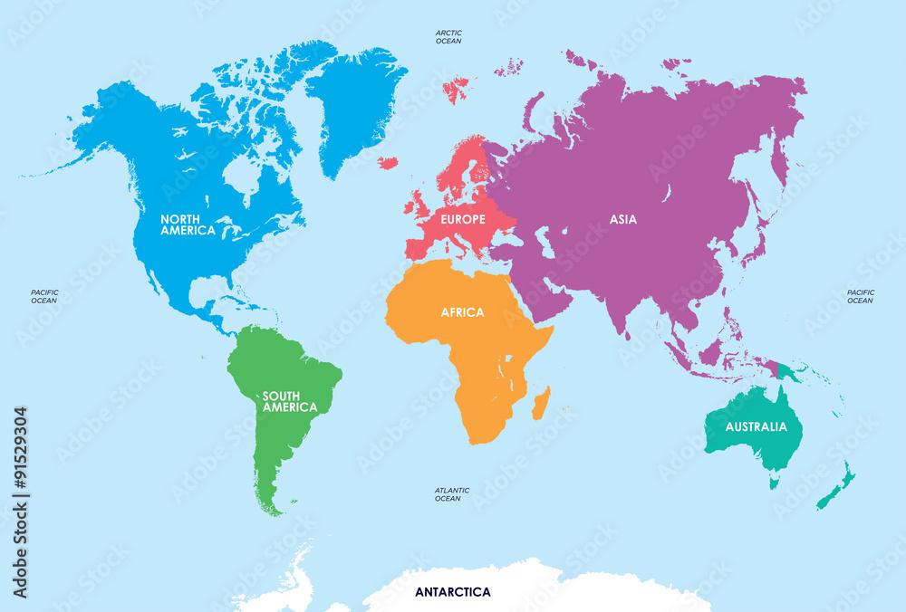 Fotografía Continentes del Mundo, Mapa | Europosters.es