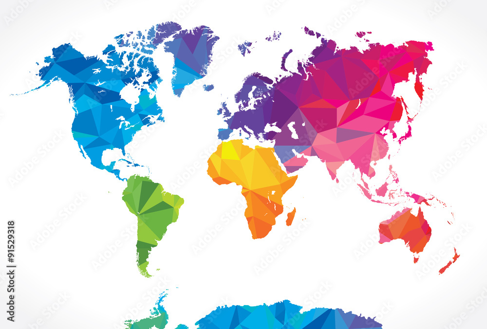 Fototapety, obrazy: Low poly world map